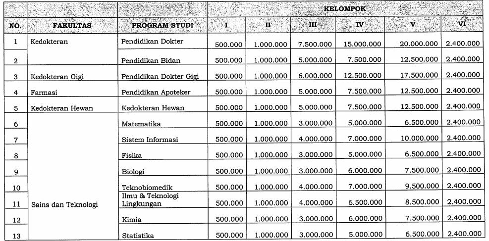 Biaya Kuliah UKT Universitas Airlangga - biaya kuliah unair 1