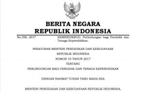 Permendikbud Nomor 10 Tahun 2017, peraturan perlindungan guru