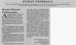 contoh surat pembaca tentang reuni