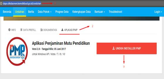 cara download aplikasi dapodikdasmen pmp