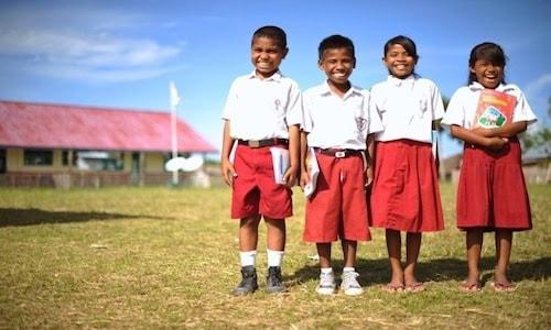 Gambar anak sekolah dasar berangkat dan pulang sekolah