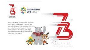 Logo HUT RI (Hari Ulang Tahun Republik Indonesia) yang ke 73 dan asian games xviii