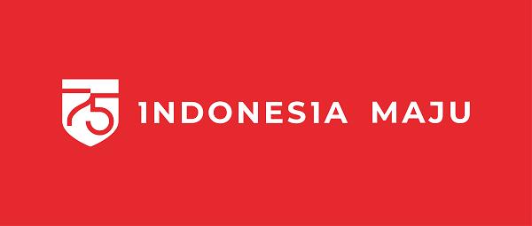 logo horizontal background merah hut ri 2020 indonesia maju