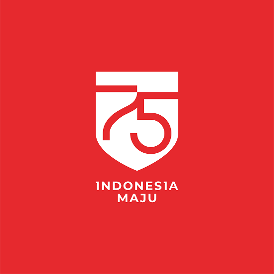 logo vertikal background merah hut ri 2020 indonesia maju