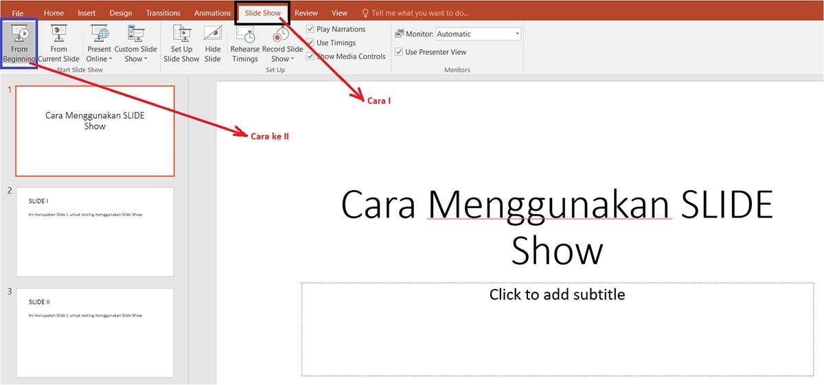 cara menggunakan dan menambahkan slide slow powerpoint