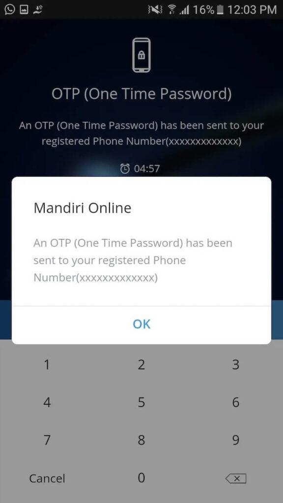 Aplikasi Mandiri Online akan segera mengirimkan kode OTP ke nomor telepon yang tadi Anda daftarkan.