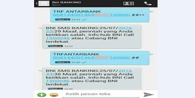 Biaya Transaksi SMS Banking BNI
