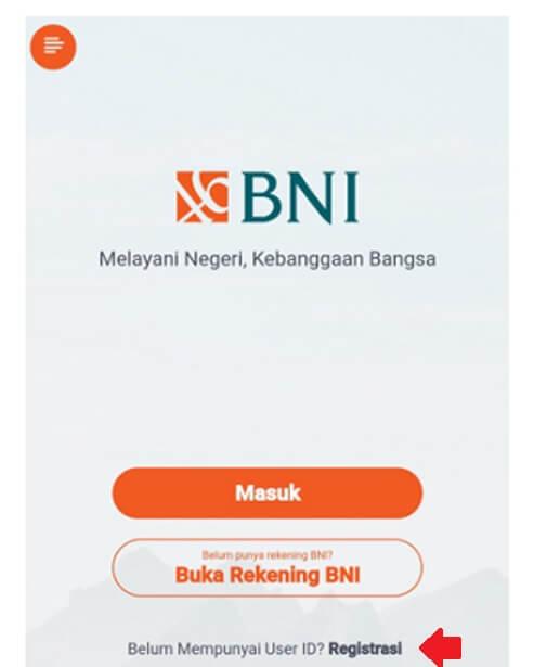 Buka aplikasi yang sudah terpasang kemudian perhatikan layar utama. Tap atau sentuh Registrasi