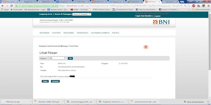 Buka menu Kotak Masuk untuk melihat e-mail pemberitahuan PIN m-Secure BNI