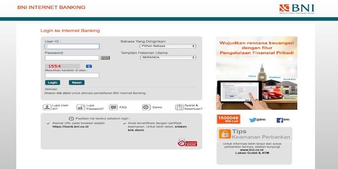 Buka situs Internet Banking BNI dan lakukan akses melalui login pada perangkat