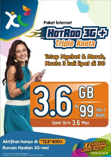 Cara Daftar Paket Internet XL Axiata HotRod 3G+