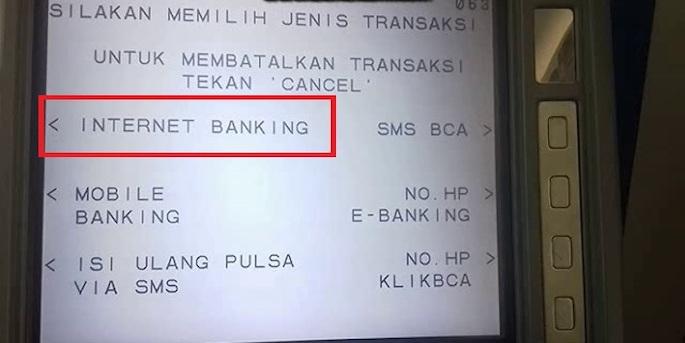 Cari dan pilih menu Internet Banking