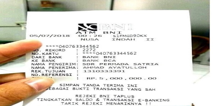 Cek nomor rekening pada struk bukti transfer