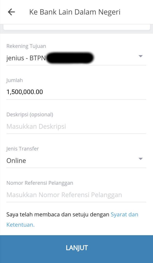 Dapat melakukan transfer uang antar bank