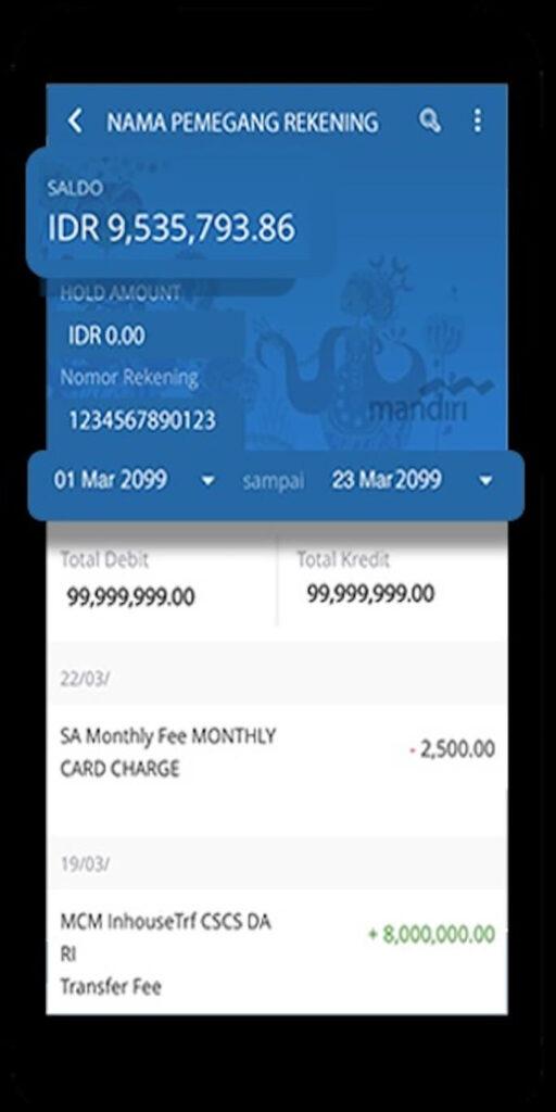 Jika Anda berhasil masuk ke aplikasi, maka beranda memunculkan akun bank Mandiri Anda