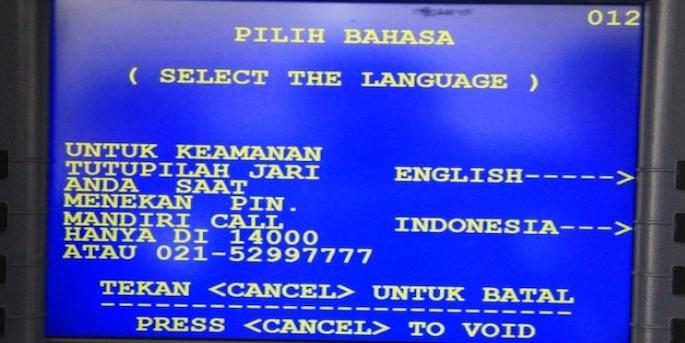 Kemudian akan muncul dua pilihan bahasa, yakni bahasa Indonesia dan English. Pilih bahasa yang diinginkan