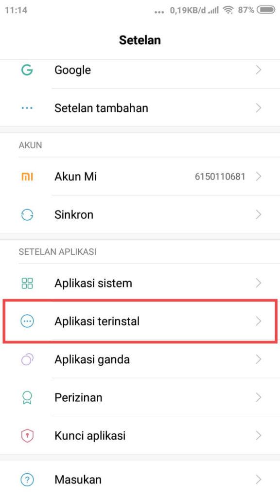Kemudian pilih menu Setelan Aplikasi