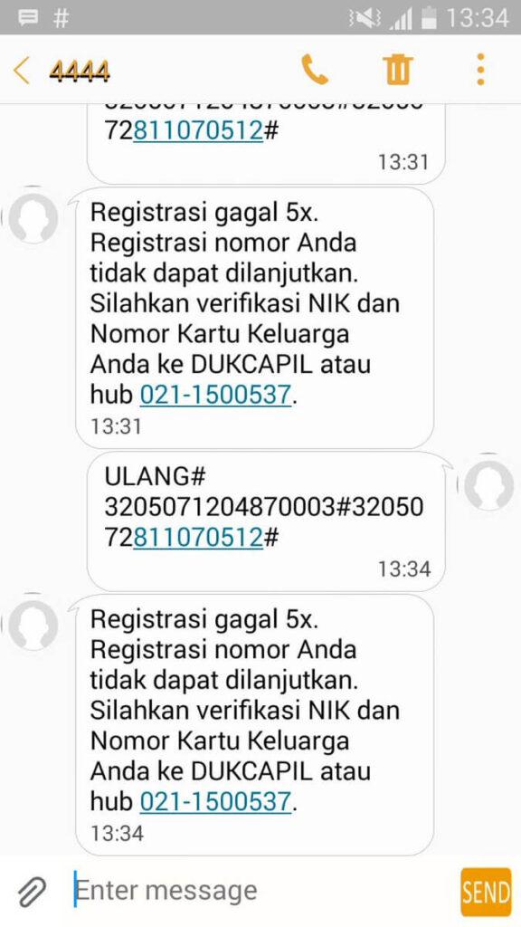 Kirim SMS Registrasi Lima Kali
