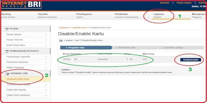 Klik Layanan Nasabah kemudian cari Disable dan Enable. Pilih menu Disable