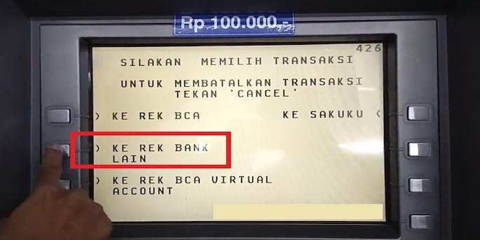Klik Transfer dan pilih Ke Rek Bank Lain