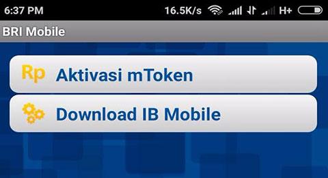 Klik aktivasi Mobile BRI