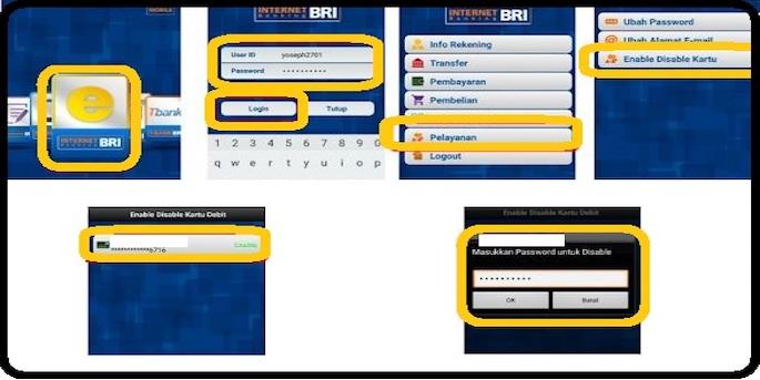 Klik menu Pelayanan kemudian pilih Disable Enable Kartu