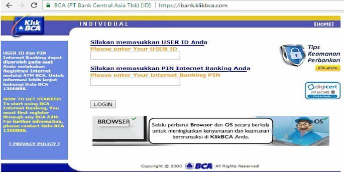 Lakukan login dengan user ID dan PIN