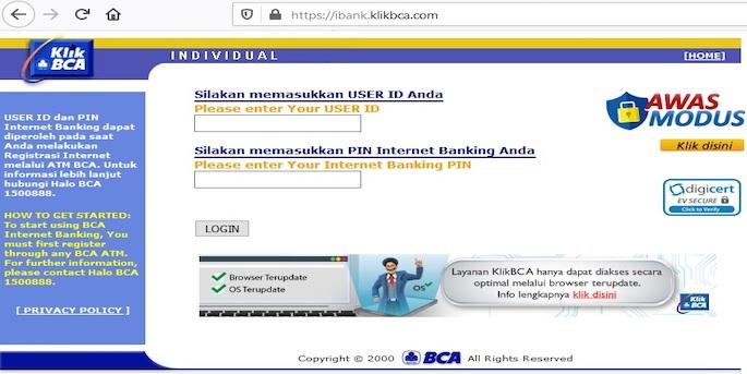 Login menggunakan User ID yang tertera pada struk registrasi di ATM