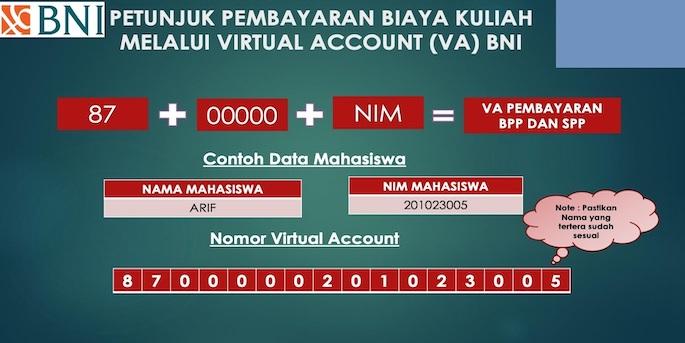 Masukkan format Virtual Account untuk membayar uang kuliah. Formatnya adalah kode 98846100 ditambah Nomor Induk Mahasiswa.