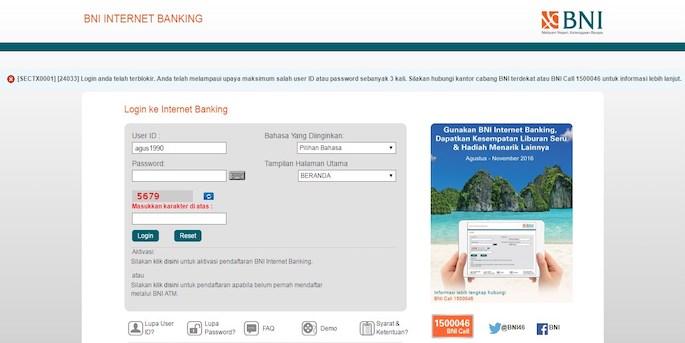 Masukkan username dan password yang sudah diaktivasi sekaligus diregistrasi