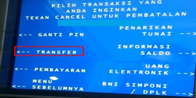 Pilih Transfer kemudian lanjutkan dengan Dari Rekening Tabungan