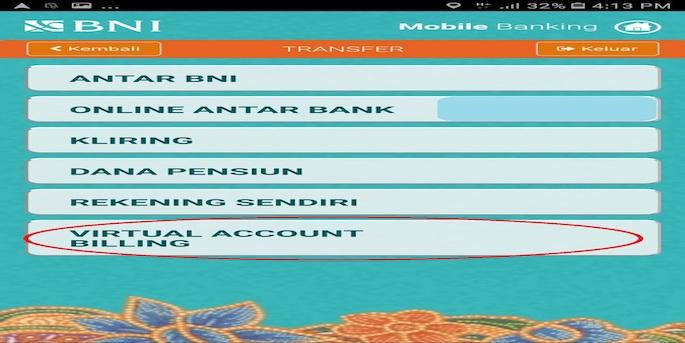 Pilih menu Transfer dan tap Virtual Account Billing