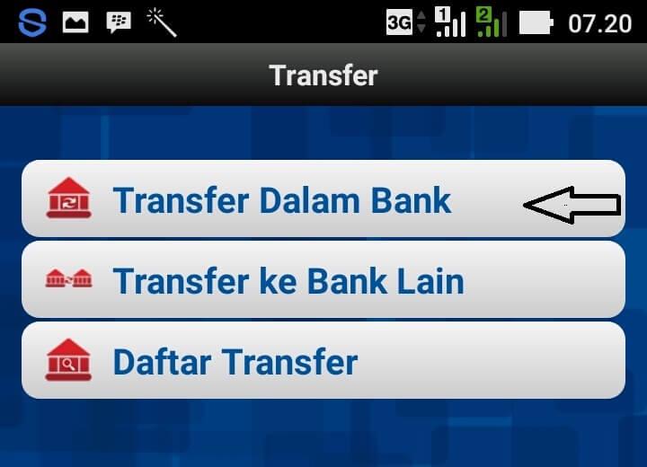 Pilih menu Transfer. Apabila sudah, ada dua pilihan yang muncul, tap Sesama BRI