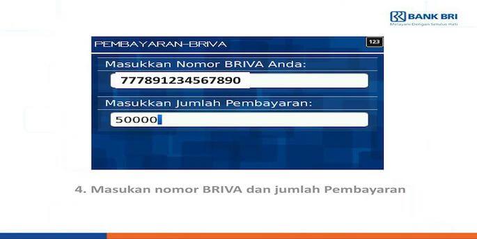 Tap menu BRIVA atau BRI Virtual Account kemudian input nomor BRIVA yang digunakan untuk membayar BPJS. Masukkan jumlah pembayaran