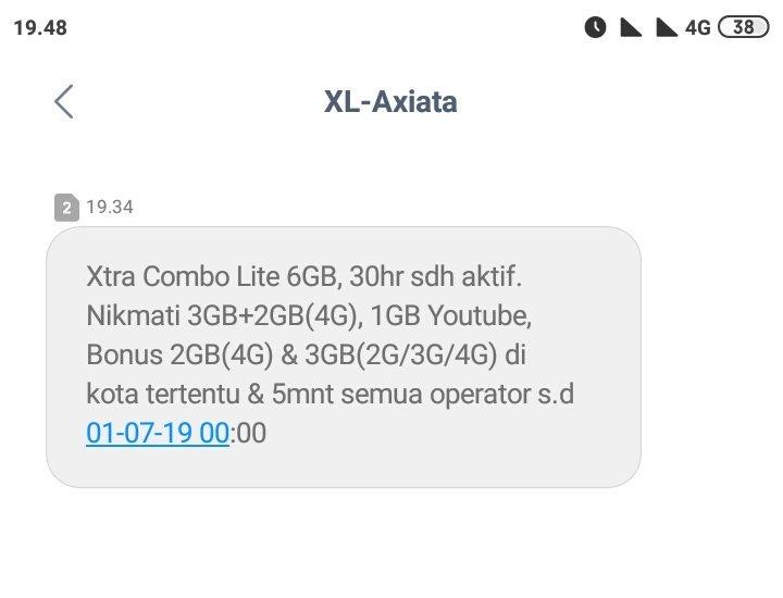 Dan terakhir Anda akan memperoleh SMS yang menginformasikan bahwa paket Xtra Combo Lite telah berhasil ditambahkan pada nomor XL Anda.