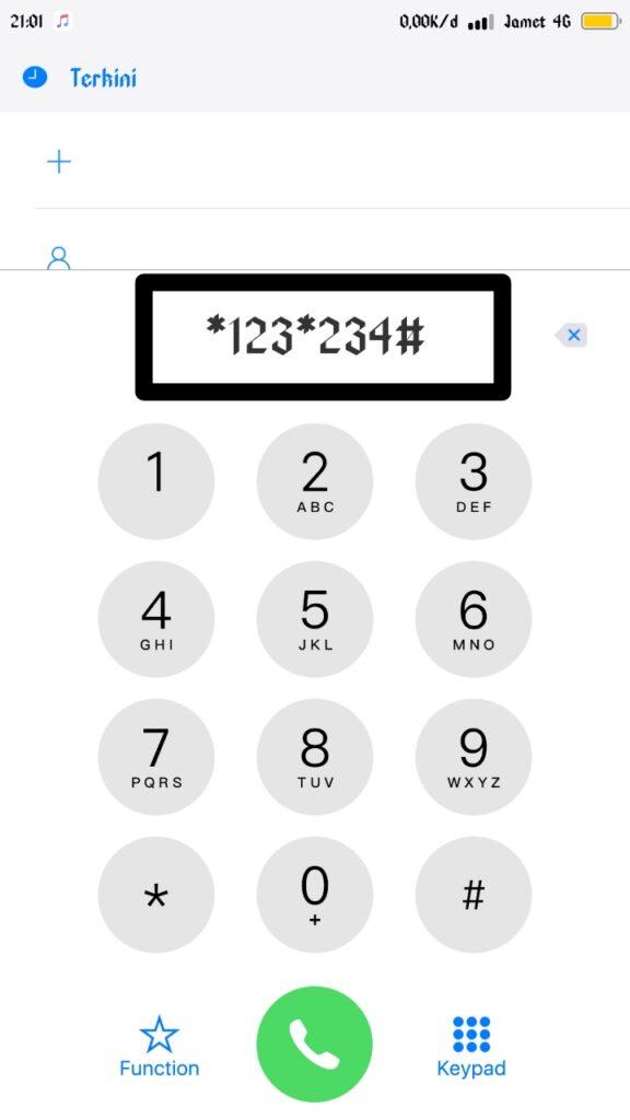Kemudian jalankan fitur Panggilan pada ponsel dan tekan dial ke 123 234