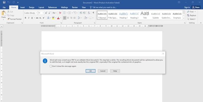 Muncul kotak dialog yang menyatakan bahwa Word akan melakukan convert terhadap file PDF