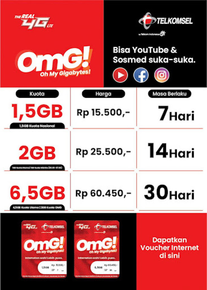 Paket 6 GB Combo dan 2 GB OMG!