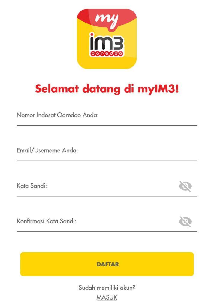 Segera lakukan pendaftaran akun MyIM3 Anda.