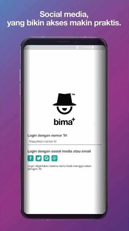 Setelah terpasang bukalah aplikasi Bima+ tersebut, kemudian lakukan registrasi atau pendaftaran nomor kartu 3 yang hendak Anda cek