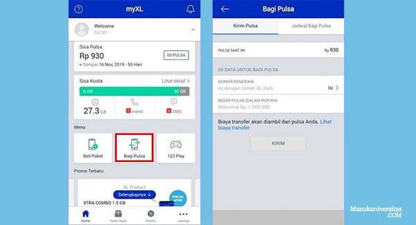cara transfer pulsa xl ke telkomsel menggunakan aplikasi MyXL